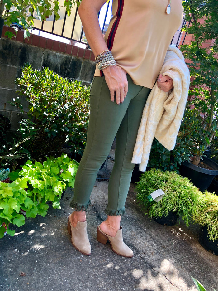 Just Black Denim - Olive Cropped Fringe Skinnies