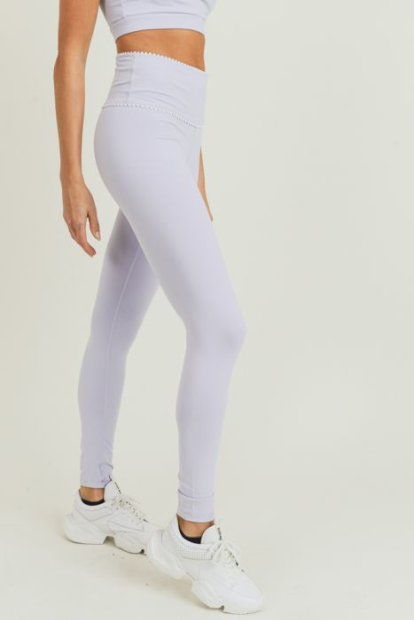 Our Amazing $35 Leggings - Lavender Scallop Trim - FINAL CLEARANCE