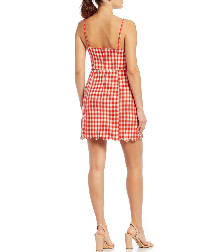 Scallop Hem Gingham Dress - SALE
