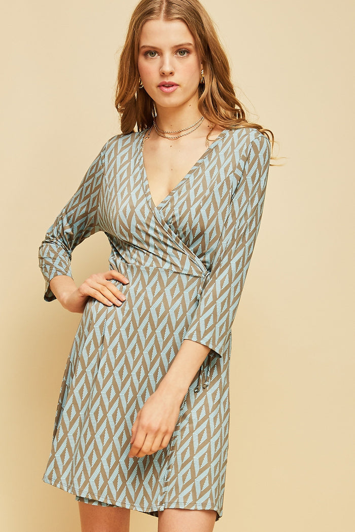 Khaki Print Wrap Dress