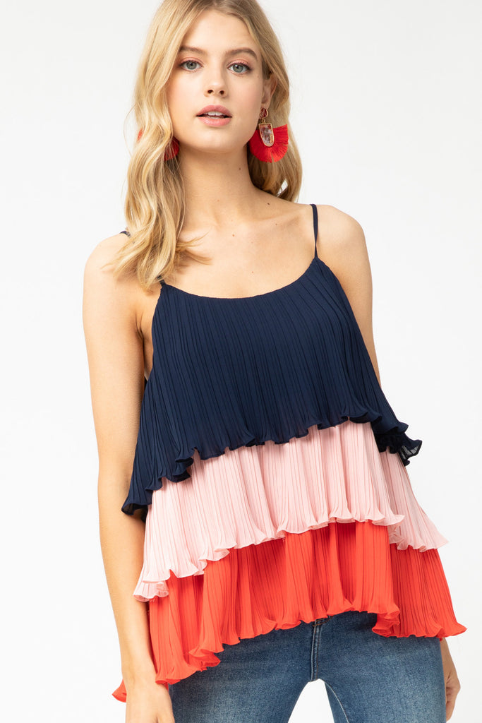 Tiered Pleated Tank - SALE