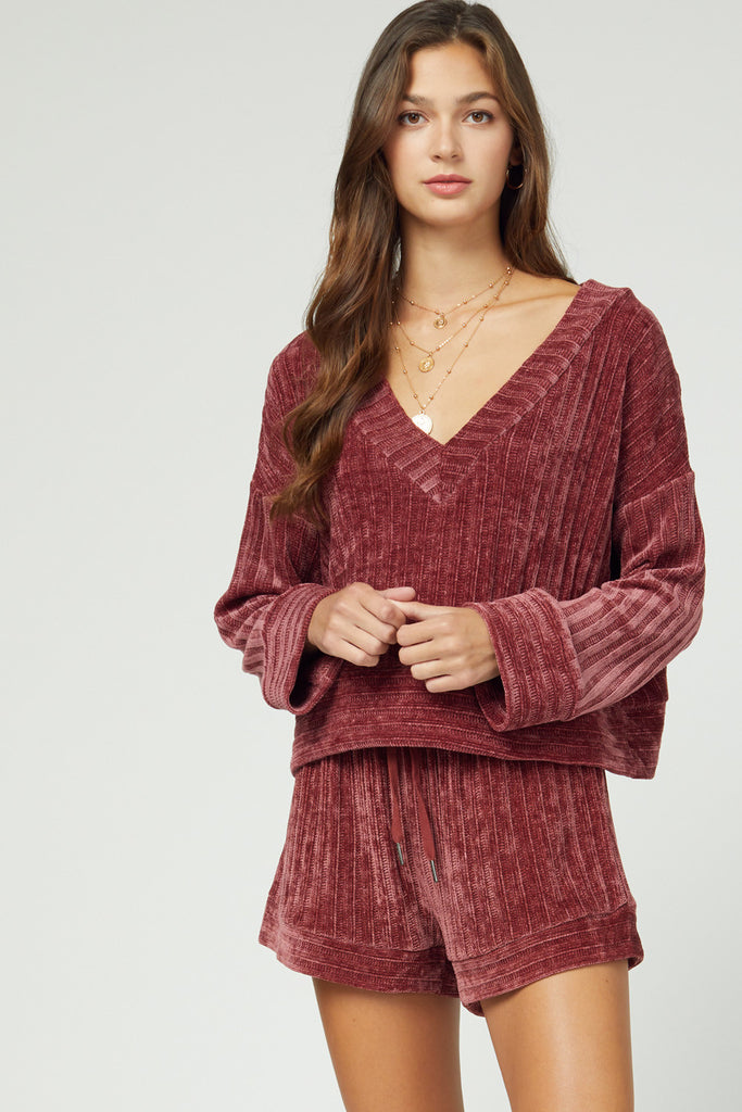 Ribbed Chenille V-Neck