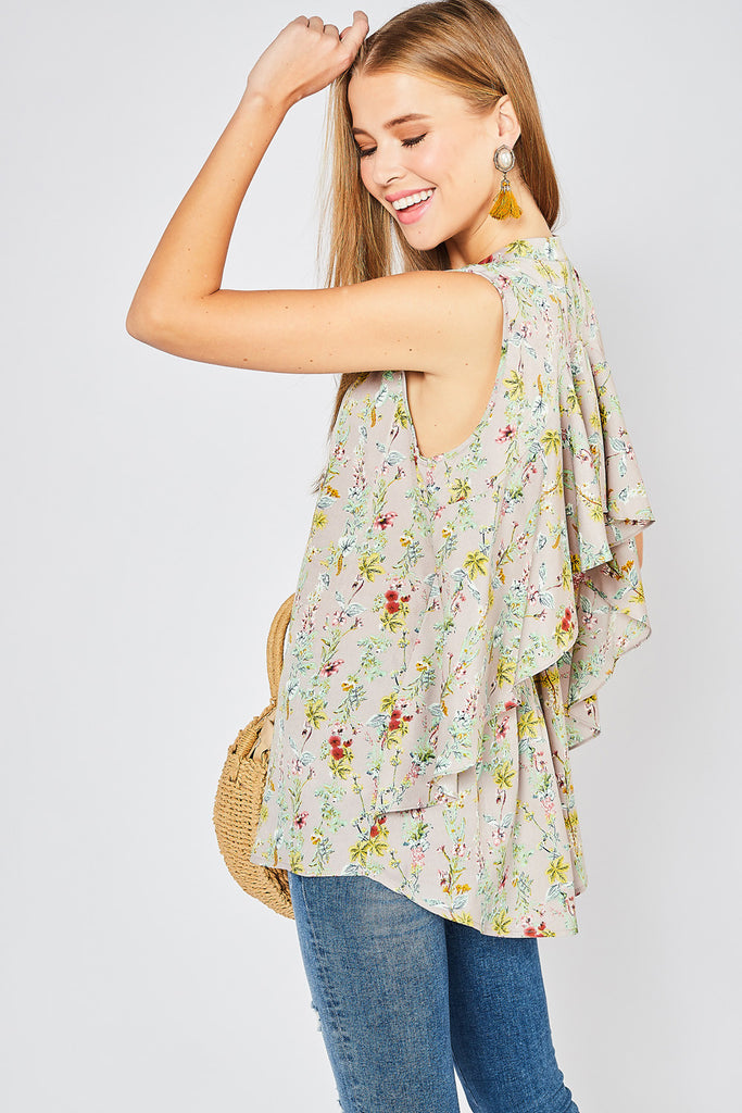 Floral Ruffled Back Top