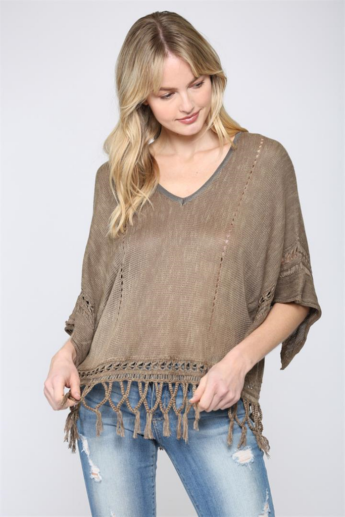 Olive Fringed Sweater - SALE