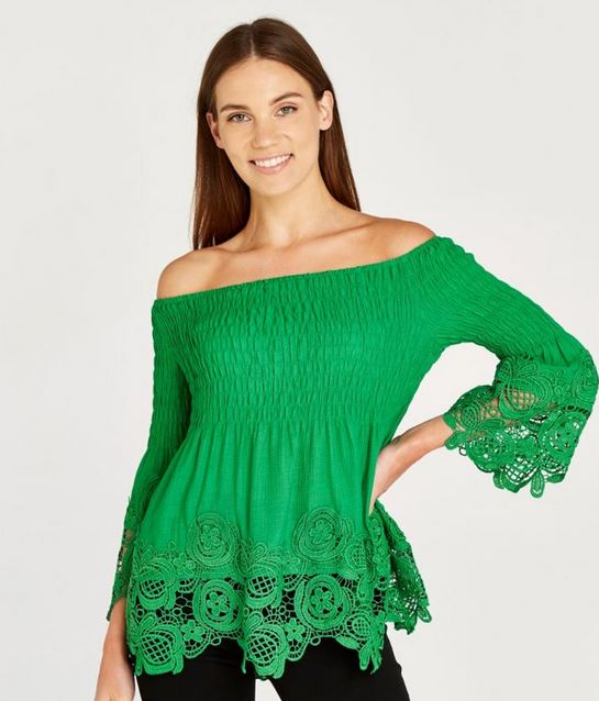 Kelly Green Bardot Top