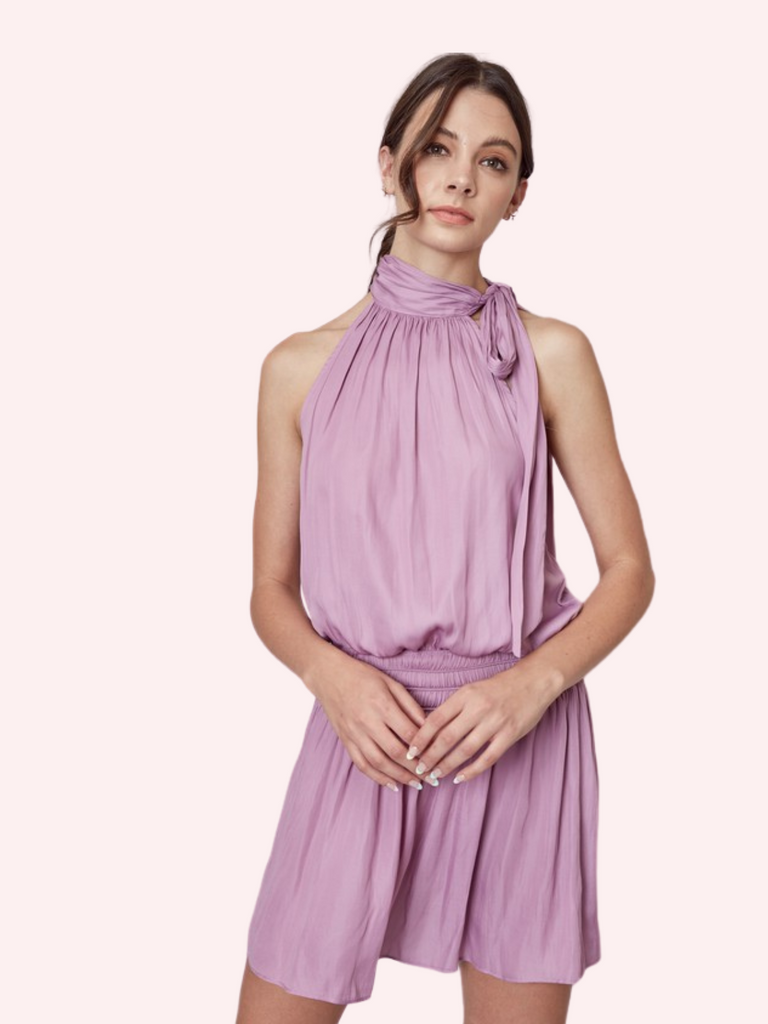 Lilac Tie Neck Dress