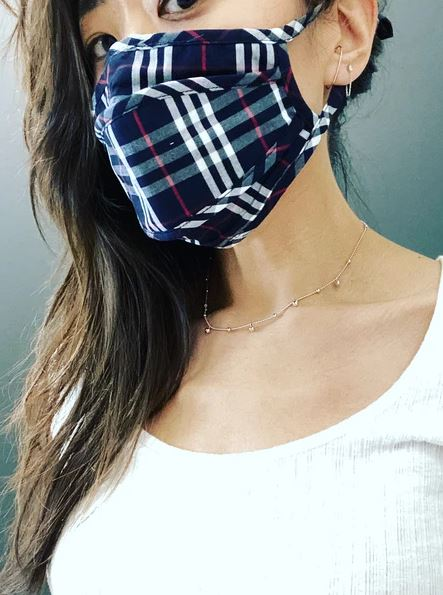 Cotton Mask With Filter - Plaid