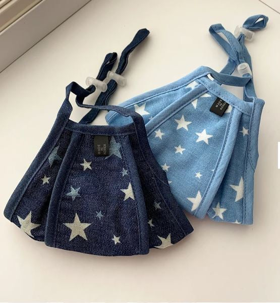 Cotton Mask With Filter - Chambray Stars