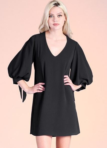 Tie Sleeve V-Neck Dress
