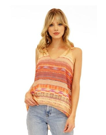 V-Neck Lined Print Tank  - SALE