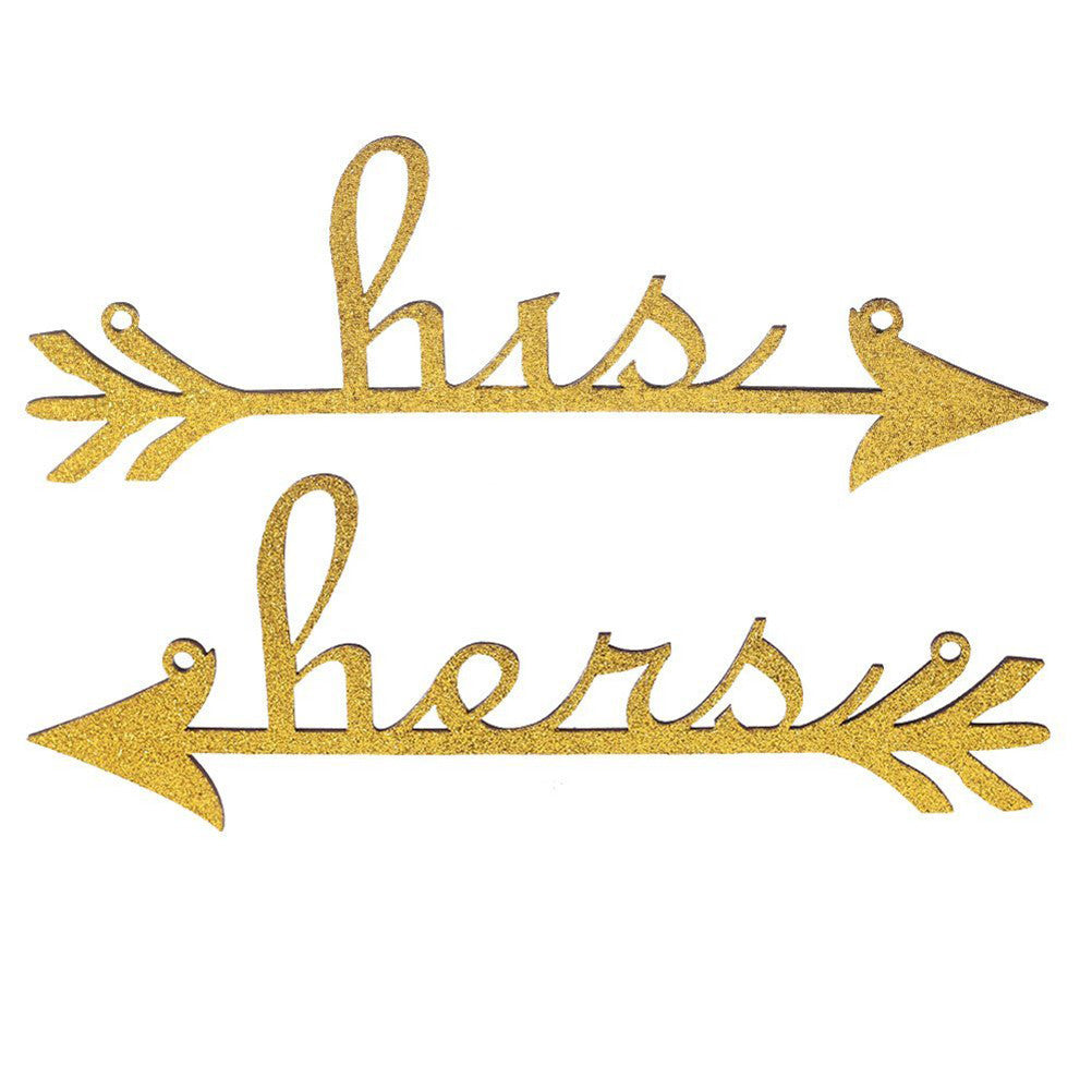 His and Hers Arrow Chair Signs for Wedding Decoration Home Decor