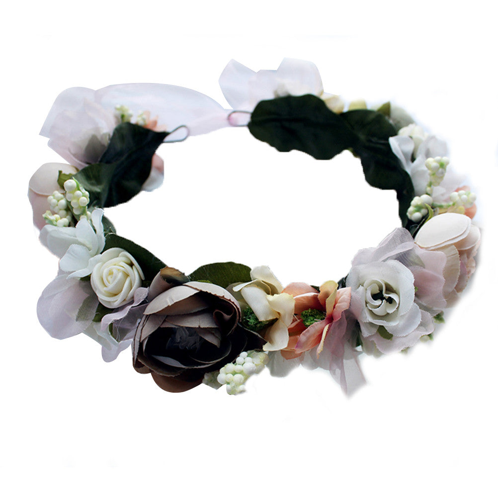 Flower Headband Wedding Floral Crown Garland Headpiece for  Wedding Party Photography