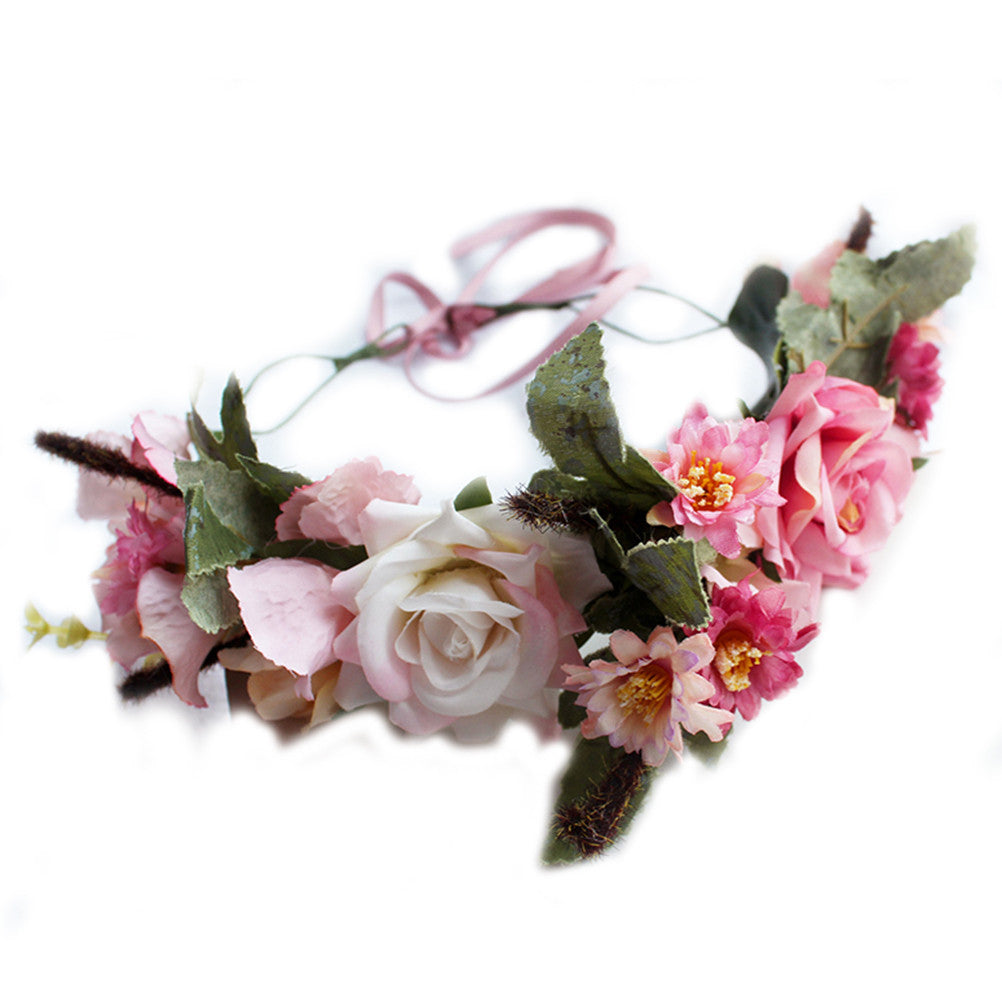 Wedding Flower Headband Floral Crown Boho Wreath Halo Garland Headpiece Wedding