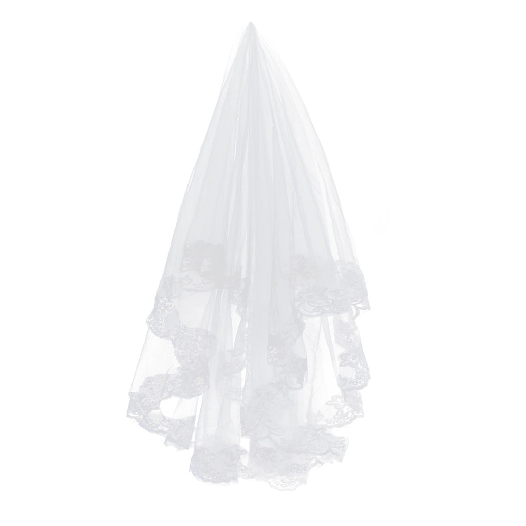 Fashion 2.6M Long One-Tier Embroidery Lace Edge Decor Bridal Wedding Veil Mantilla