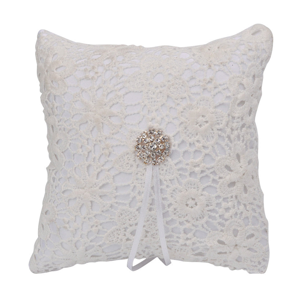 Wedding Ring Pillow Cushion Bridal Crystal Decorated Ring Bearer Pillow