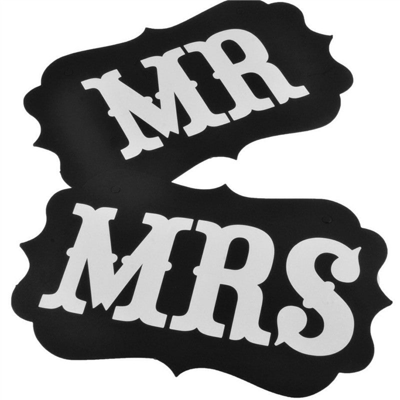 Pair of Mr and Mrs Photo Props, Mr and Mrs Chair Signs, Wedding Decorations, Bride and Groom Signs, Photo Booth Signs, Unique Wedding Decor