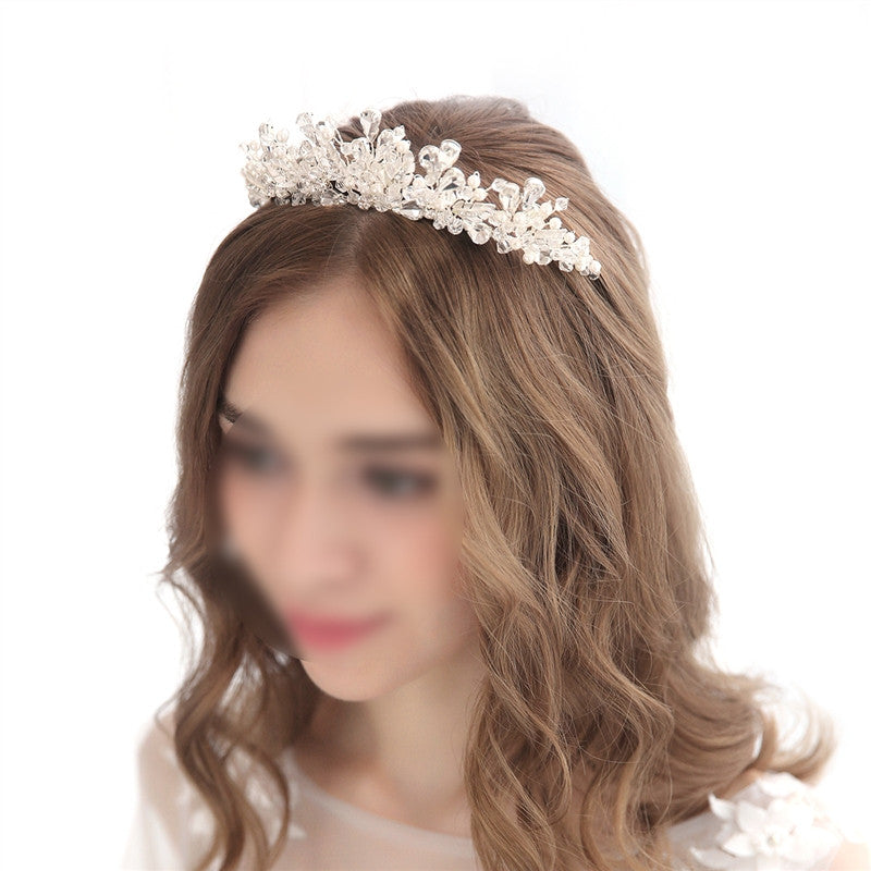 Women Bridal Princess Tiara Wedding Crystal Rhinestones Decoration Hair Crown Headband with Combs for Weddings Parties Birthday Special Occasion