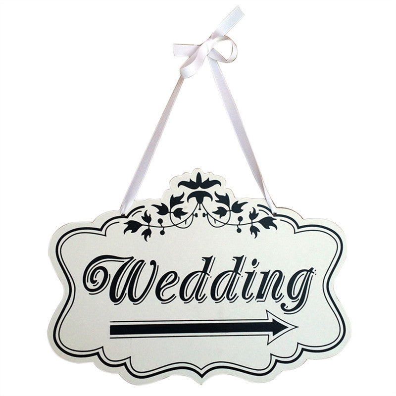 Wooden Arrow Hanging Decoration Wedding Sign (White)