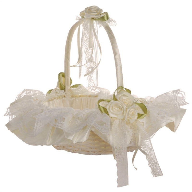 Wedding Flower Girl Basket Lace Bride Basket for Wedding Ceremony Party Decoration (Milk White)