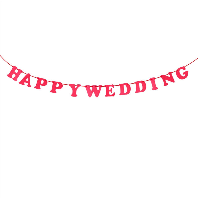 Happy Wedding Bunting Banner Decorative Nonwovens Banner Hanging Garland for Wedding Party