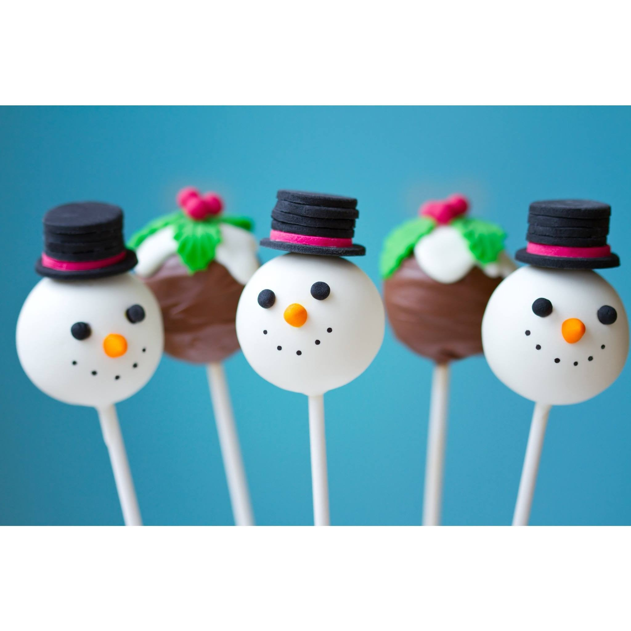 Christmas Pudding and Snowmen Cake Pops - Cake Pops Parties