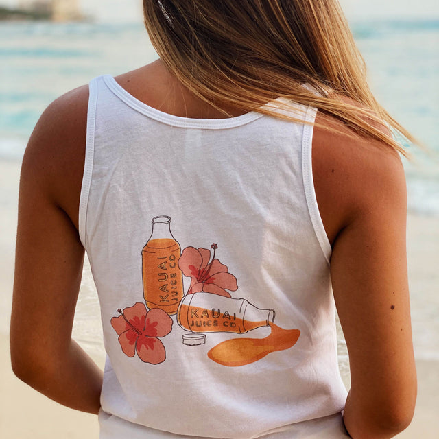 back of t-shirt with picture of juice and flowers