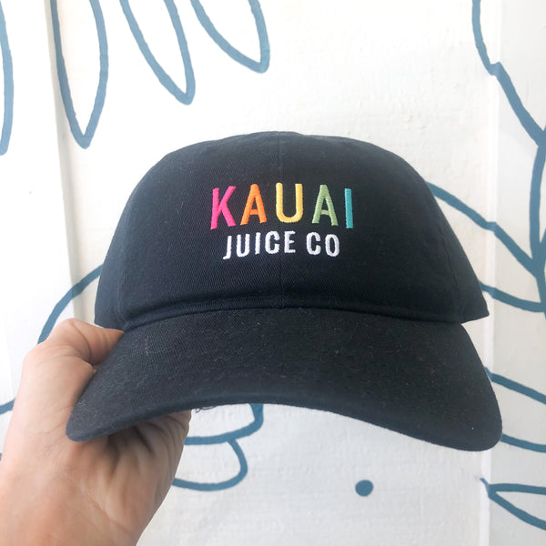 colorful embroidered Kauai Juice Co logo on black dad hat