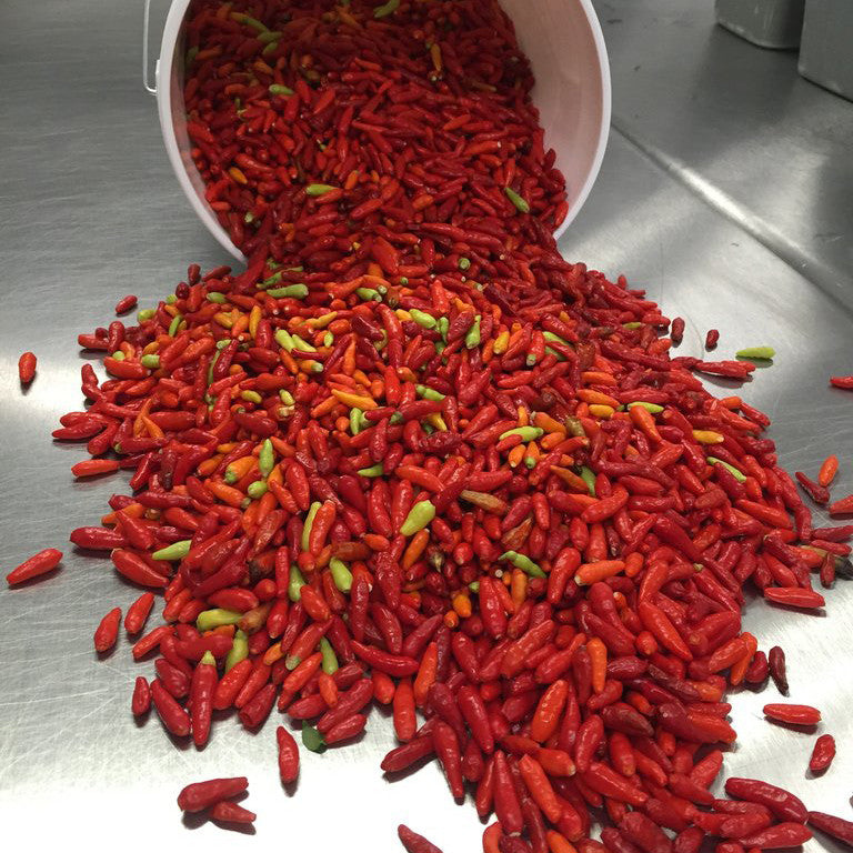 bucket of red and yellow peppers