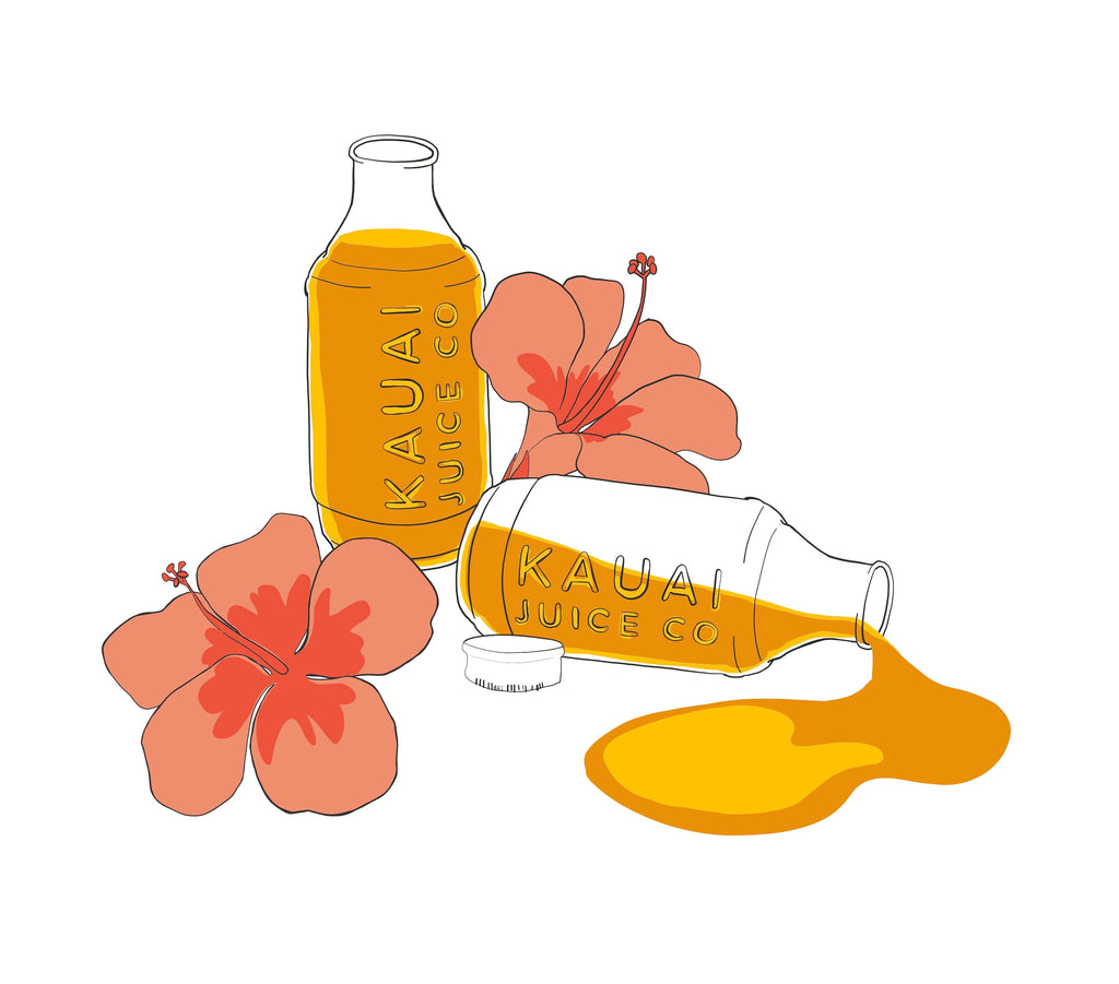 hand drawn art featuring Kauai Juice Co bottles and hibiscus flowers