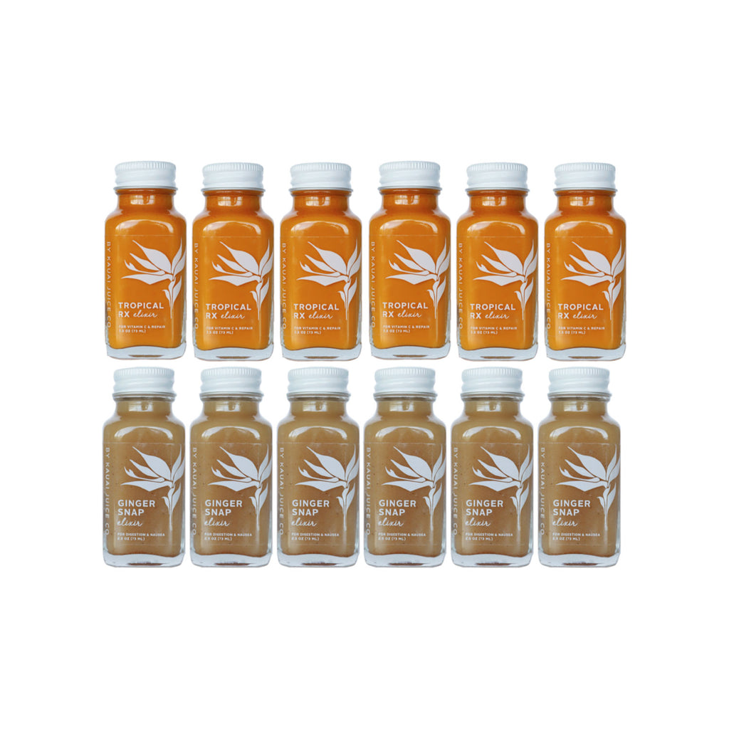 6 bottles of Kauai Juice Co Tropical Rx elixirs and 6 bottles of Ginger Snap elixirs