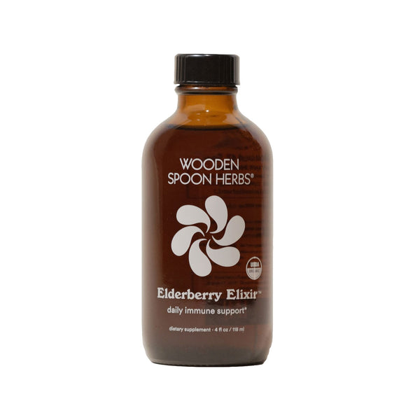 amber bottle of Elderberry Elixir by Wooden Spoon Herbs
