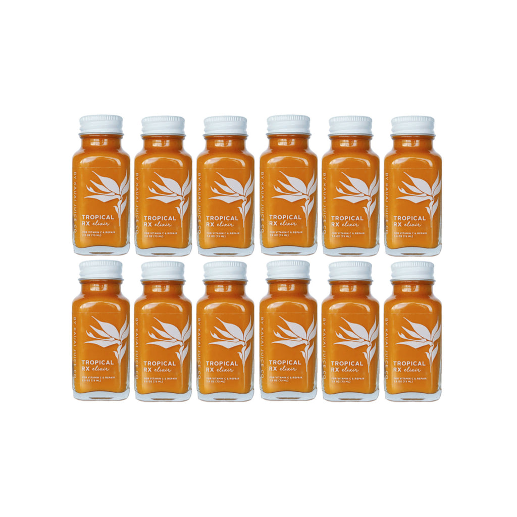 12 bottles of tropical rx elixir by Kauai Juice Co