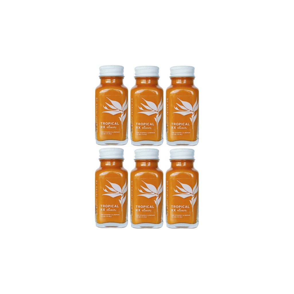 6 bottles of tropical rx elixir by Kauai Juice Co
