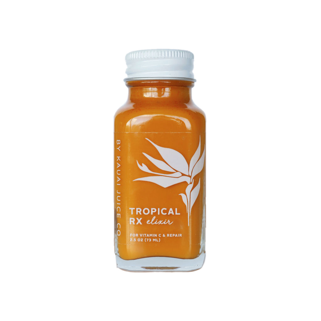 bottle of tropical rx elixir by Kauai Juice Co