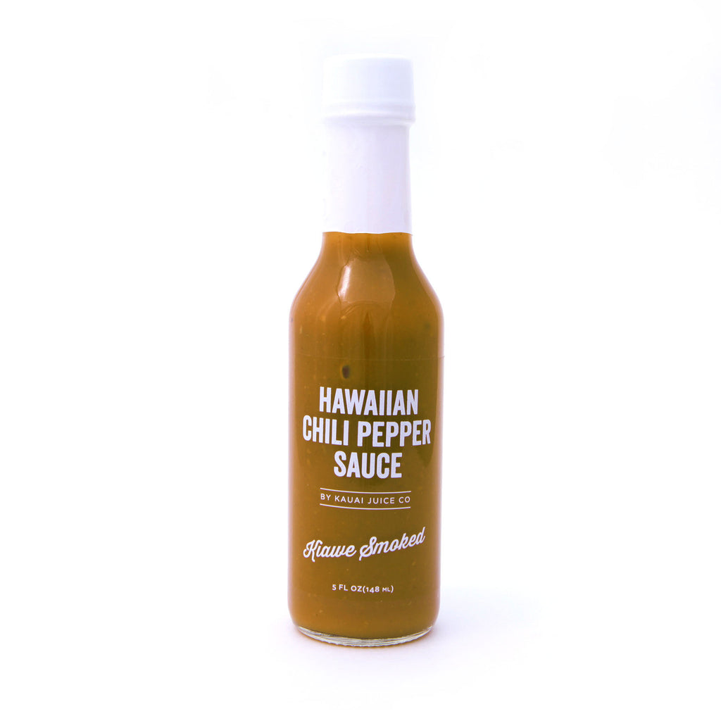 bottle of Hawaiian Chili Pepper Sauce in Kiawe Smoked flavor