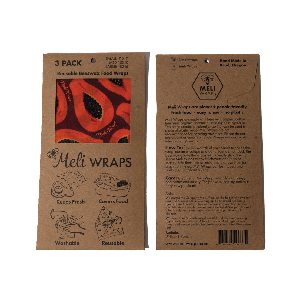 two 3=packs of Meli Wrap, showing front and back of packaging