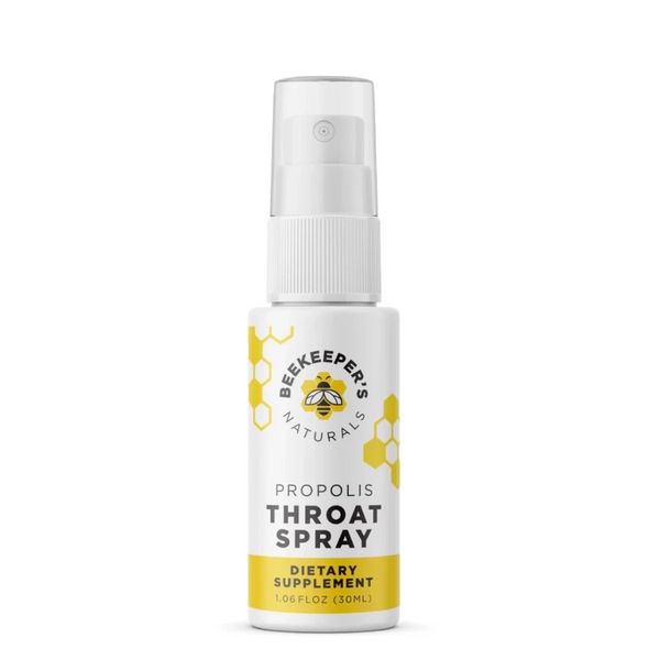 spray bottle of Beekeeper's Naturals Propolis Throat Spray dietary supplement