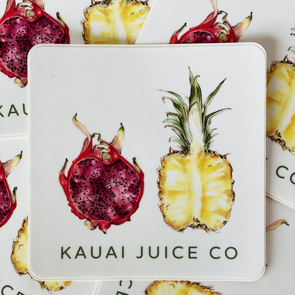 Sticker with Kauai Juice Co logo and drawing of pineapple and pomegranate