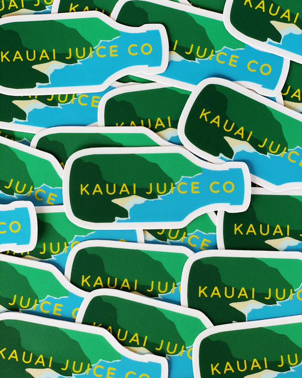 Stack of Kauai Juice Co Bottle stickers