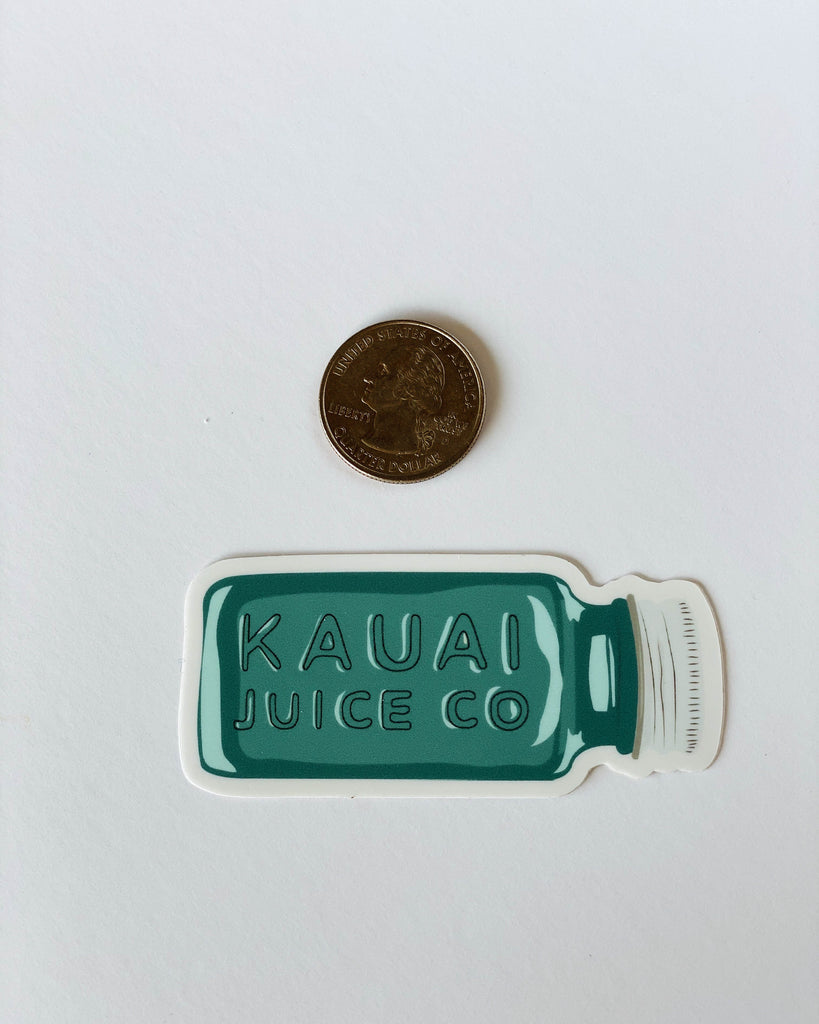 hand drawn Kauai Juice Co. bottle with quarter