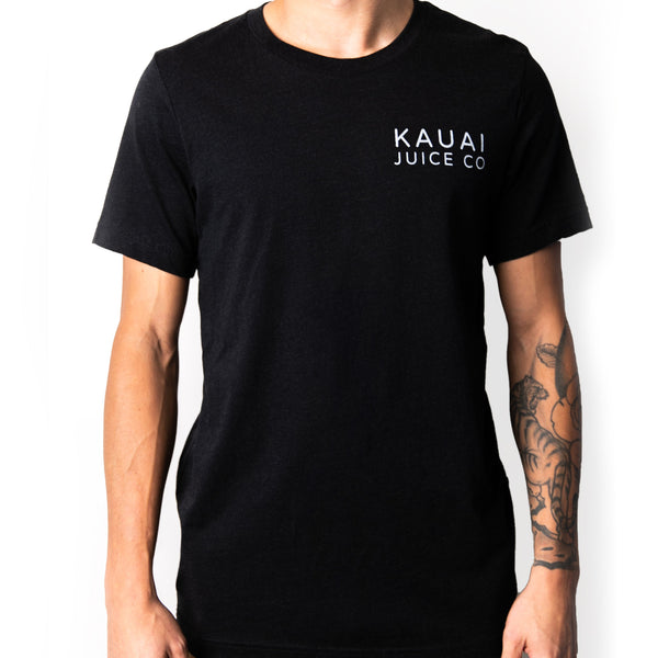Black short sleeve men's tshirt with Kauai Juice Co logo printed on chest