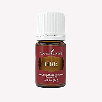 Small bottle of Young Living Thieves essential oil
