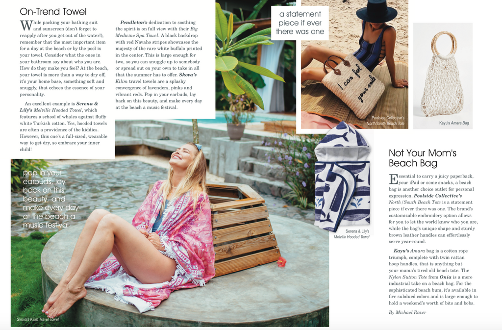 Hamptons Magazine, oversized travel towel, travel accessory, kilim towel, turkish towel, nicole kay clark, lightweight towel, square towel