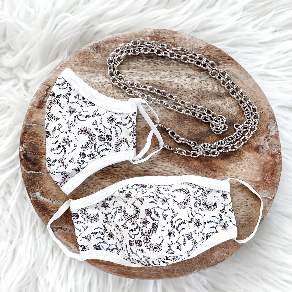 NEW! (TWO PACK + body chain) DELICATE PAISLEY 100% COTTON & ANTIMICROBIAL-REUSABLE MASK WITH BODY CHAIN