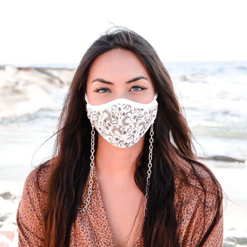 BEST SELLER! (TWO PACK + body chain) DELICATE PAISLEY 100% COTTON & ANTIMICROBIAL-REUSABLE MASK WITH BODY CHAIN