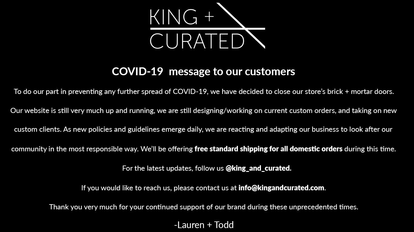 COVID-19 response from King + Curated