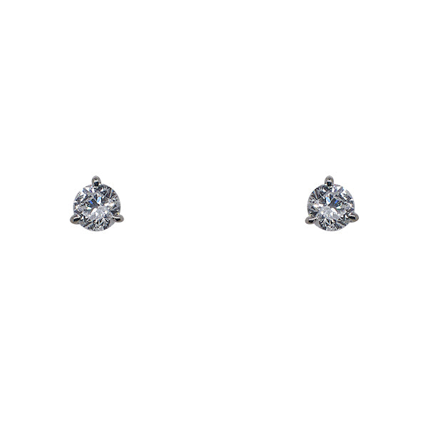 Front view of 1 tcw lab diamond studs in 14 kt white gold 3 prong settings.