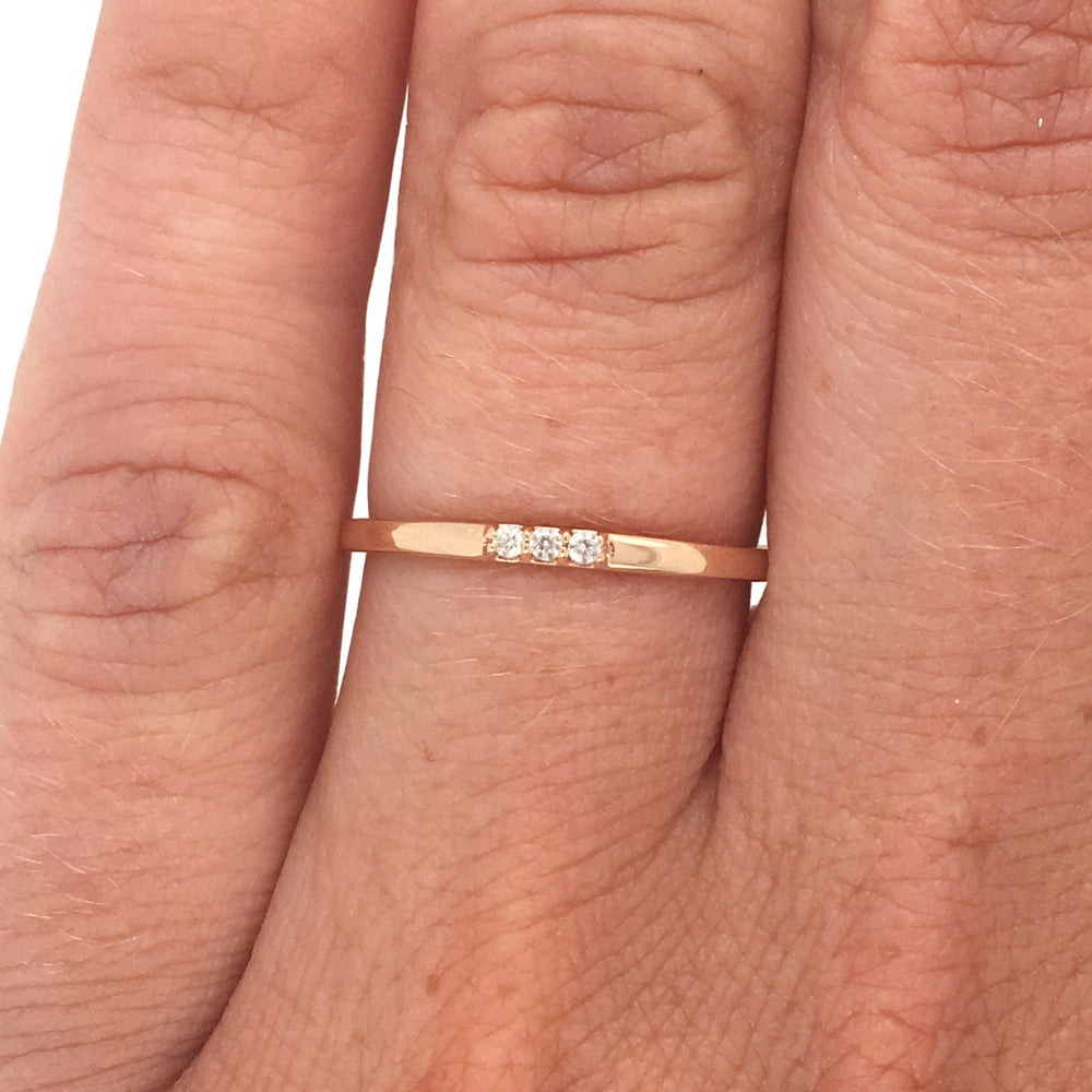 Load image into Gallery viewer, 3 Diamond Stacking Band - The Curated Gift Shop
