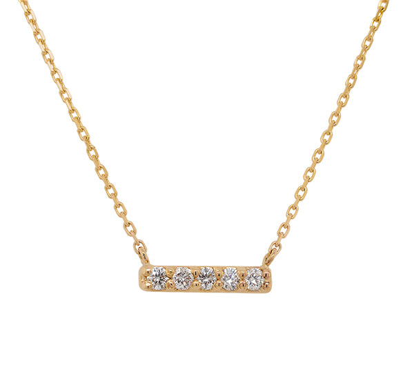 Front view of a solid 14 kt yellow gold bar necklace with 5 round cut diamonds.