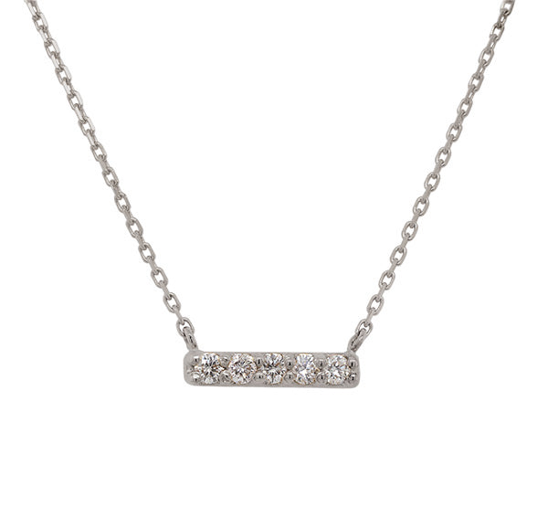 Load image into Gallery viewer, Front view of a solid 14 kt white gold bar necklace with 5 round cut diamonds.